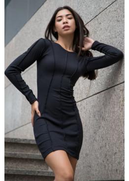 Силуэтное платье с длинными рукавами из трикотажа рубчик, Черный