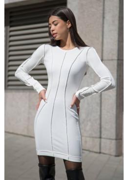 Силуэтное платье с длинными рукавами из трикотажа рубчик, Молочный