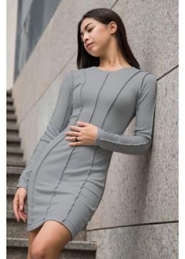 Силуэтное платье с длинными рукавами из трикотажа рубчик, Серый