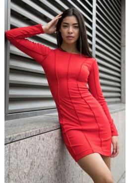 Силуэтное платье с длинными рукавами из трикотажа рубчик, Красный