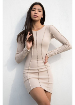 Силуэтное платье с длинными рукавами из трикотажа рубчик, Бежевый