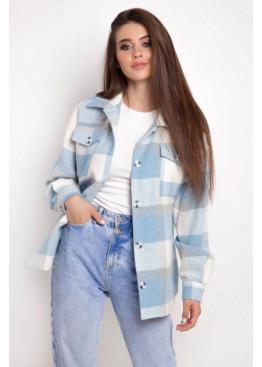 Рубашка из мягкой теплой ткани с принтом в клетку, Голубой