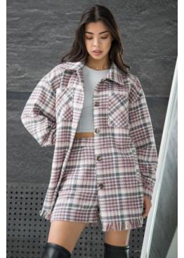 Модная рубашка-пальто свободного силуэта из твида с накладными нагрудными карманами, Розовый