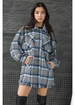 Модная рубашка-пальто свободного силуэта из твида с накладными нагрудными карманами, Синий