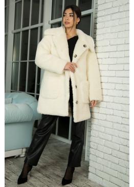 Двухсторонняя шуба-пальто из искуственного барашка с утеплителем