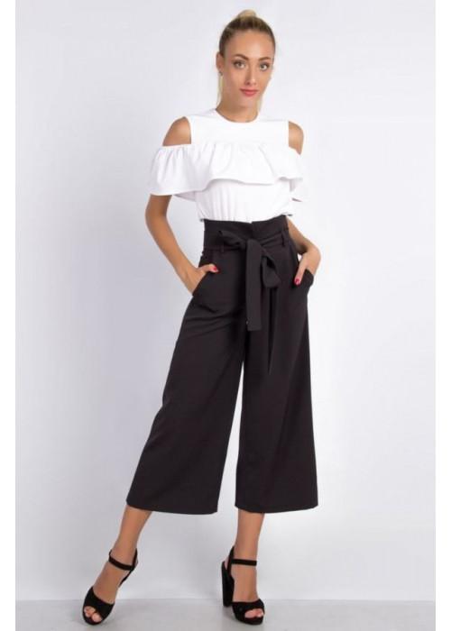 Стильные чёрные брюки-кюлоты с высокой посадкой по талии