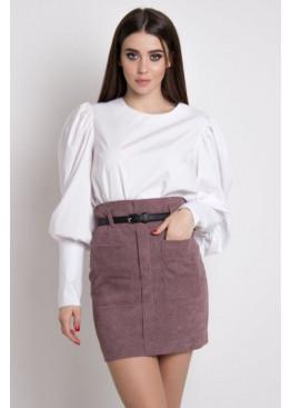Элегантная юбка с высокой посадкой по талии из микро-вельвета