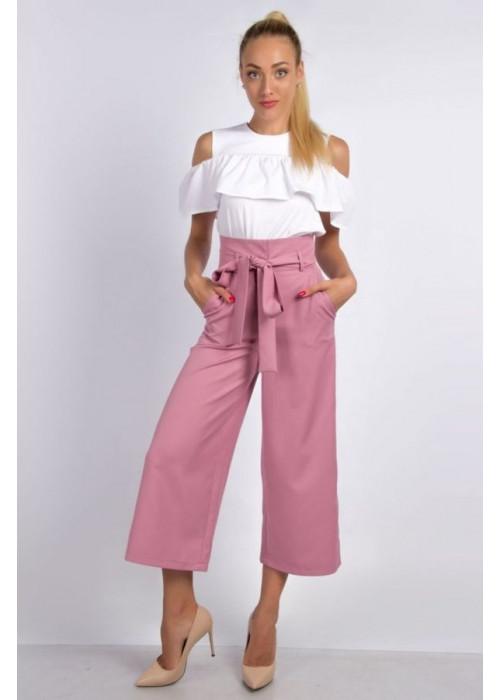 Стильные пудровые брюки-кюлоты с высокой посадкой по талии