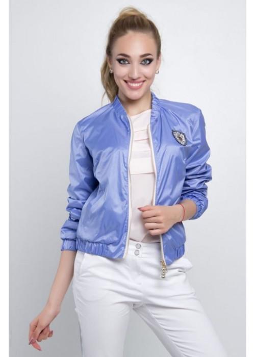 Легкая летняя куртка-бомбер с длинными рукавами сиреневого цвета
