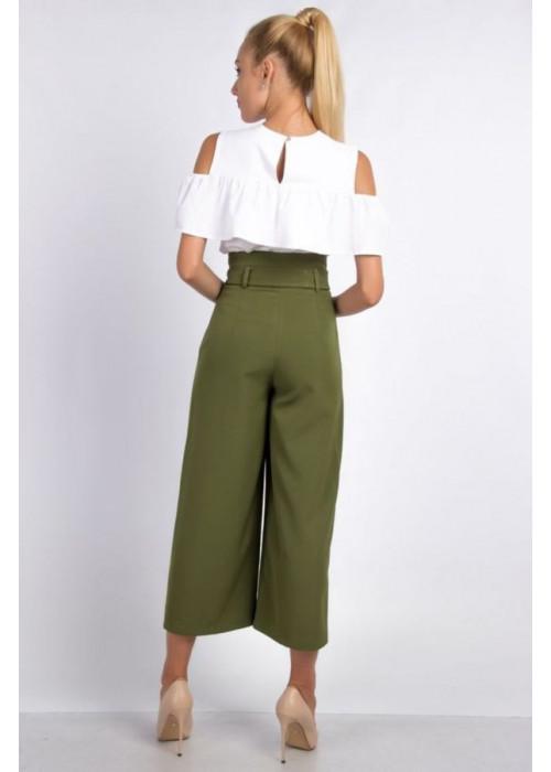 Стильные брюки-кюлоты цвета хаки с высокой посадкой по талии