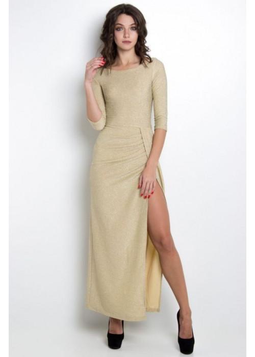 Шикарное вечернее платье в пол из трикотажа с мерцающими нитями