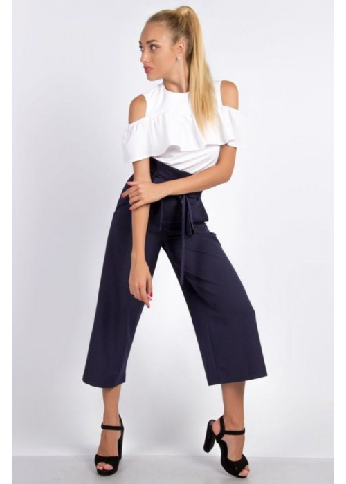 Стильные синие брюки-кюлоты с высокой посадкой по талии