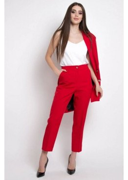 Укороченные брюки с высокой посадкой по талии, Красный
