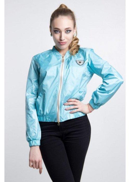 Легкая летняя куртка-бомбер с длинными рукавами голубого цвета
